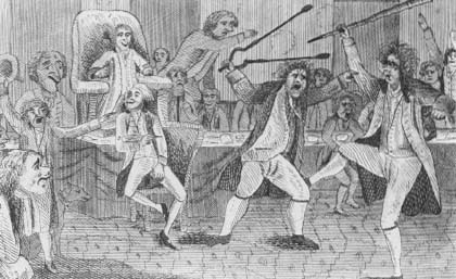 Satiric portrayal of the first fight in Congress—between Matthew Lyon and Roger Griswold. Lyon was later prosecuted under the Sedition Act. (Courtesy, Library of Congress)