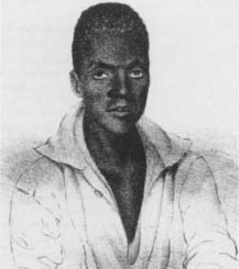 "It was ruled that Joseph Cinque, leader of the Amistad rebellion, and his comrades ""were born free, and … of right are free and not slaves."" (Courtesy, Library of Congress)"
