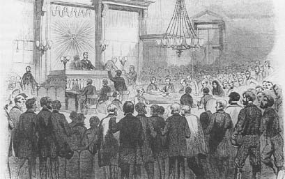 The crowded courtroom where the jury returned a verdict of not guilty, (Harper's Weekly)
