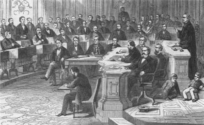 President Andrew Johnson Impeachment Trial 1868 Senate Tries President Johnson Butler House Managers And Constitution Jrank Articles