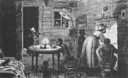 Ku Klux Klan attacking black family inside their home. (drawing by Frank Bellew, Harper's Weekly)