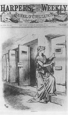Cartoonist Thomas Nast recalled growing up in fear of the random beatings meted out by Tweed's gang. In the above cartoon he shows relief that justice has been served. (Harper's Weekly)
