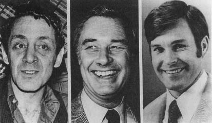 Former policeman Dan White (right) was suspected in the killings of city Supervisor Harvey Milk (left) and Mayor George Moscone (center). (AP/Wide World Photos)