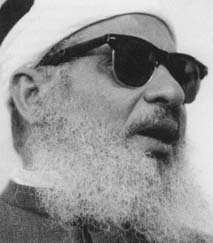 "Sheik Omar Abdel-Rahman convicted of seditious conspiracy for plotting a ""war of urban terrorism against the United States."" (AP/Wide World Photos)"