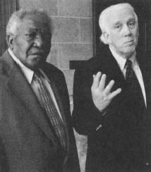 Claude Johnson (left), claimant to be the biological son and sole heir of legendary bluesman Robert Johnson. (AP/Wide World Photos)